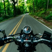motorcycle driving on a tree lined road