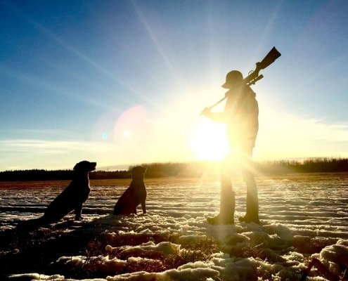 Hunter holding a gun standing next to dog in sunrise